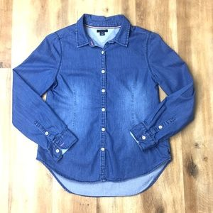 Tommy Hilfiger Chambray Button Up Long Sleeve Top
